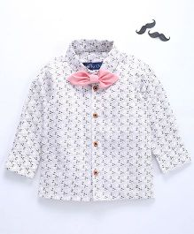 Knotty Kids Full Sleeve Mini Flower Printed Shirt With Bow - White