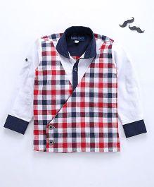 Knotty Kids Full Sleeves Checkered Coat Type Shirt - Multicolour