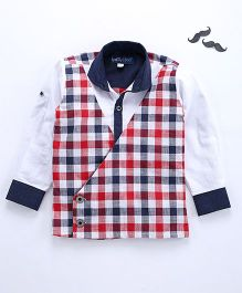 Knotty Kids Full Sleeves Checkered Coat Type Shirt - Multicolour