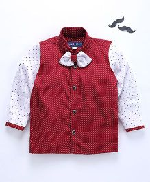 Knotty Kids Polka Dot Full Sleeves Shirt With Bow - Red