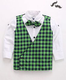 Knotty Kids Casual Checkered Coat With Shirt & Bow - Green