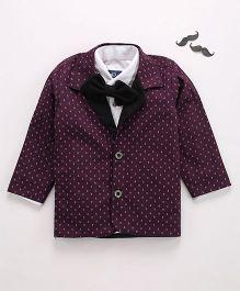 Knotty Kids Casual Shirt Style Blazer With Bow - Dark Pink