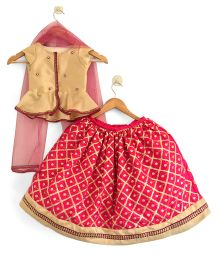 Flutterbows Peplum Top With Contemporary Ghagra & Dupatta - Beige & Magenta