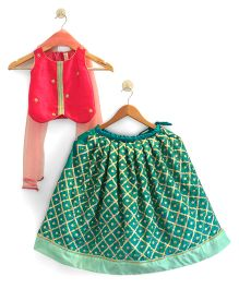 Flutterbows Sequence Top With Contemporary Ghagra & Dupatta - Dark Pink & Sea Green