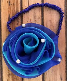 Flutterbows Dual Colored Headband With Bead Applique - Electric Blue & Aqua Blue