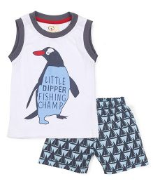 Olio Kids Sleeveless T-Shirt And Shorts Penguin Print - White Grey