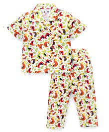 Fido Half Sleeves Night Suit Birds Print - White Multicolor