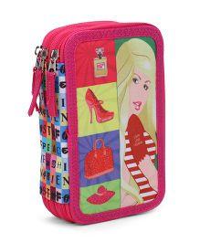 Steffi 3 Pocket Pencil Case - Pink