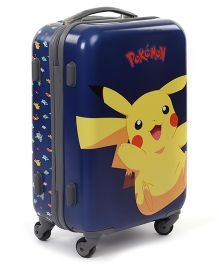 Pokemon Pokemon Pikachu Hard Trolley Bag Blue And Yellow - 20 Inches