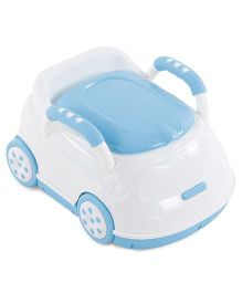 Car Shaped Potty Chair With Handles  - White Turquoise Blue