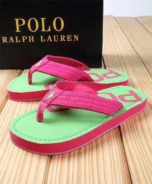 Polo Ralph Lauren Flip Flops - Pink Green