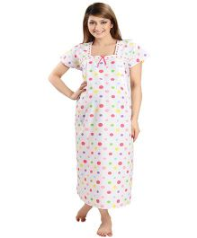 Eazy Maternity & Nursing Nighty - White Pink