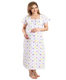 Eazy Maternity & Nursing Nighty - White Purple