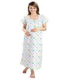 Eazy Maternity & Nursing Nighty - White Blue