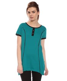 Goldstroms Long Maternity Top With Vertical Zipper - Green