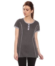 Goldstroms Long Maternity Top With Vertical Zipper - Grey