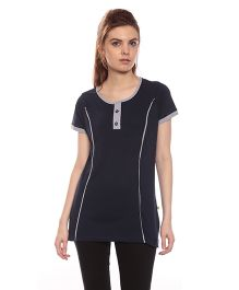 Goldstroms Long Maternity Top With Vertical Zipper - Navy