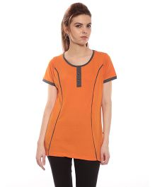 Goldstroms Long Maternity Top With Vertical Zipper - Orange