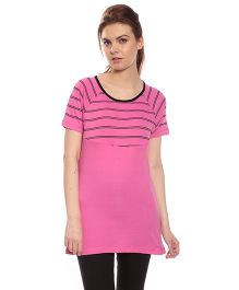 Goldstroms Solid Color Long Maternity Top - Light Pink