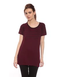 Goldstroms Solid Color Long Maternity Top - Maroon