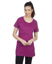 Goldstroms Long Maternity Top - Aubergine