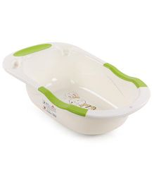 Baby Bath Tub Rabbit Print - Cream & Green