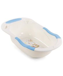 Baby Bath Tub Rabbit Print - Cream & Blue