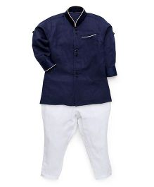 Robo Fry Full Sleeves Pathani Suit - Navy White