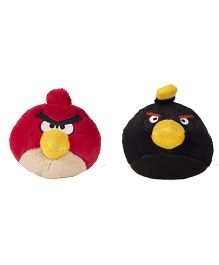 Angry Birds Soft Toys Pack Of 2 Red And Black - 21 cm