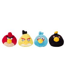 Angry Birds Soft Toys Pack Of 4 Red Yellow Blue Black - 12 cm