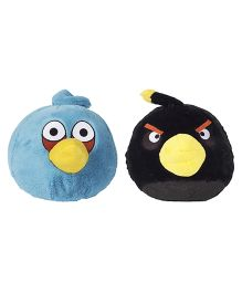 Angry Birds Soft Toys Pack Of 2 Black and Blue - 20 cm