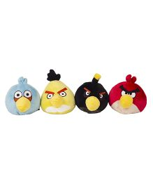 Angry Birds Soft Toys Pack Of 4 Red Blue Yellow Black - 10 cm