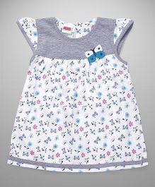 Babyhug Cap Sleeves Frock Butterfly Motif - White Grey Aqua Blue