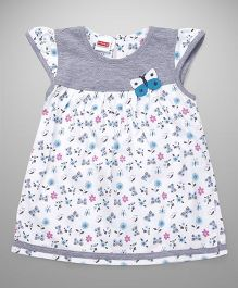 Babyhug Cap Sleeves Frock Butterfly Motif - White Grey Aqua Blue