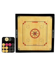 GSI Khel Mandir Medium Size 4 mm Gloss Finish Carrom Board With Coins Striker & Powder