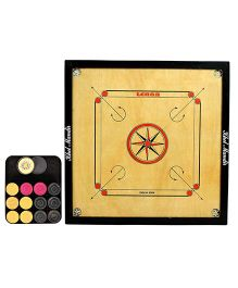 GSI Khel Mandir Large Size 4 mm Gloss Finish Carrom Board with Coins Striker & Powder