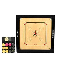 GSI Khel Mandir Practice Size 4 mm Gloss Finish Carrom Board With Coins Striker & Powder