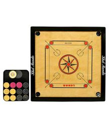 GSI Khel Mandir Club Size 8 mm Gloss Finish Carrom Board With Coins Striker & Powder