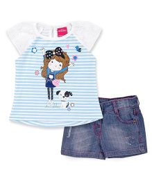Button Noses Half Sleeves Striped T-Shirt And Shorts Butterfly Print - Blue