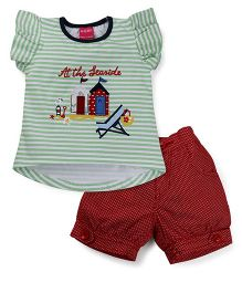 Button Noses Short Sleeves Top & Shorts Set Seaside Print - Green White