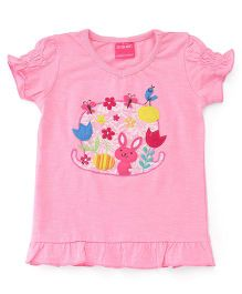 Button Noses Half Sleeves Top Floral & Bunny Patch - Pink