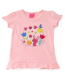 Button Noses Half Sleeves Top Floral & Bunny Patch - Peach