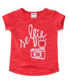 Button Noses Half Sleeves Top Selfie Print - Red