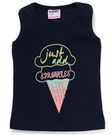 Button Noses Sleeveless Tee Ice-cream Print - Navy