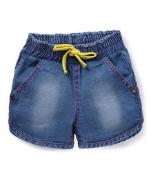 Button Noses Shorts With Drawstrings - Blue