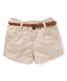 Button Noses Shorts With Belt - Fawn