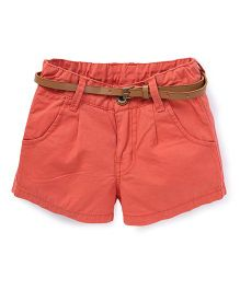 Button Noses Shorts With Belt - Coral