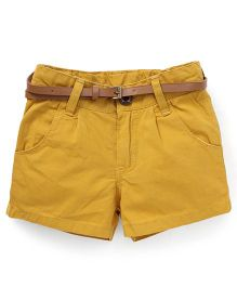 Button Noses Shorts With Belt - Mustard Yellow