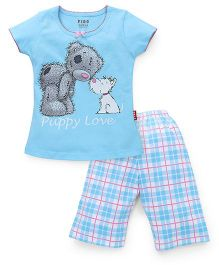 Fido Half Sleeves Night Suit Puppy Love Print - Sky Blue