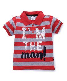 Fido Half Sleeves Striped T-Shirt I'm The Man Print - Red